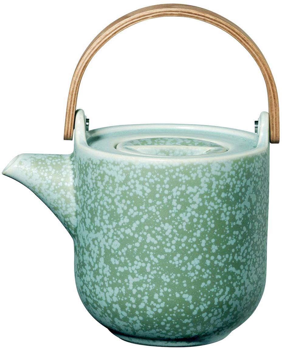 Kleine handgemachte Teekanne Coppa in Mintgrün und mit Holzhenkel, Kanne: Porzellan, Griff: Holz,, Kanne: Mintgrüntöne Griff: Holz, 1 L