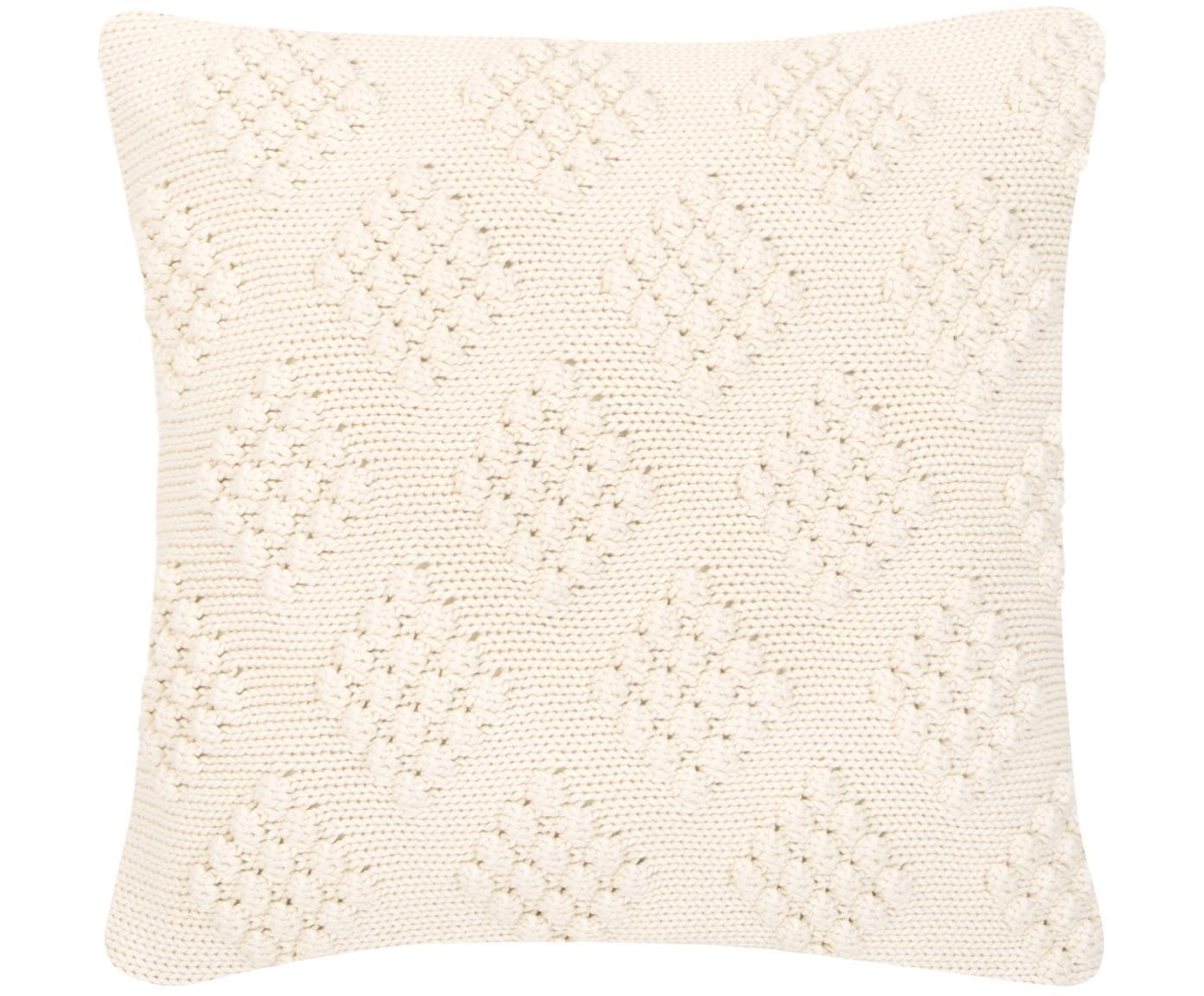 Funda de cojín de punto Kelly, 100%algodón, Blanco crema, An 40 x L 40 cm
