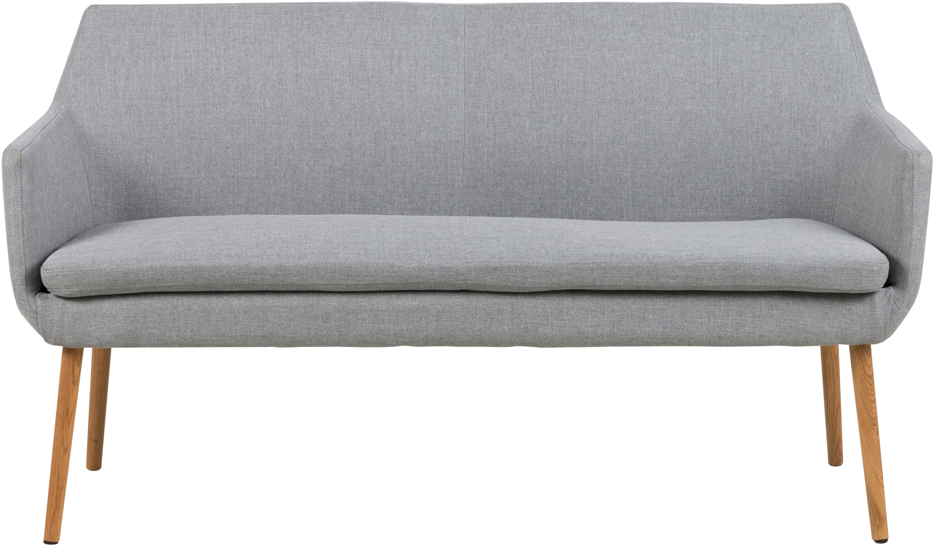 Graue Esszimmerbank Nora mit Lehne, Bezug: 100% Polyester, Gestell: Eichenholz, Bezug: Grau<br>Gestell: Eichenholz, 159 x 86 cm