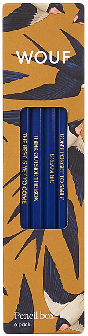 Set 6 matite Swallow, Legno, Giallo, blu, beige, Larg. 18 x Alt. 5 cm