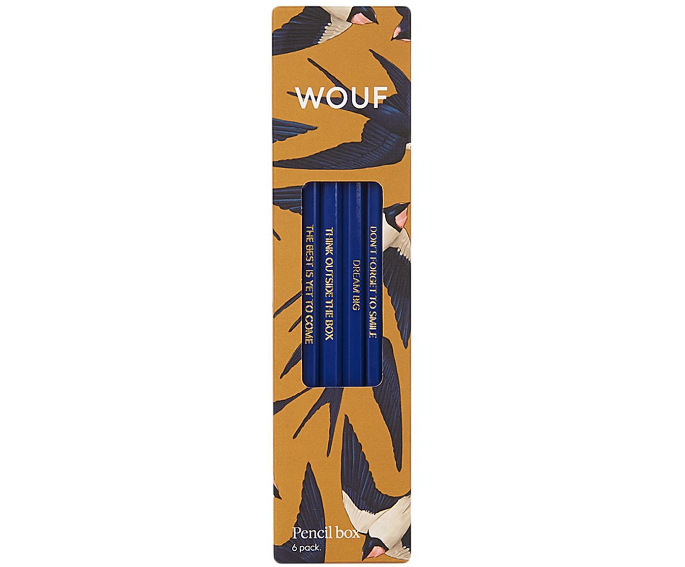 Komplet ołówków Swallow, 6 elem., Drewno naturalne, Żółty, niebieski, beżowy, S 18 x W 5 cm