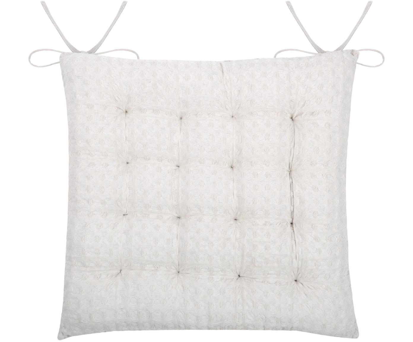 Waffelpiqué-Sitzkissen Gopher, Bezug: 100% Baumwolle, Weiß, 40 x 40 cm