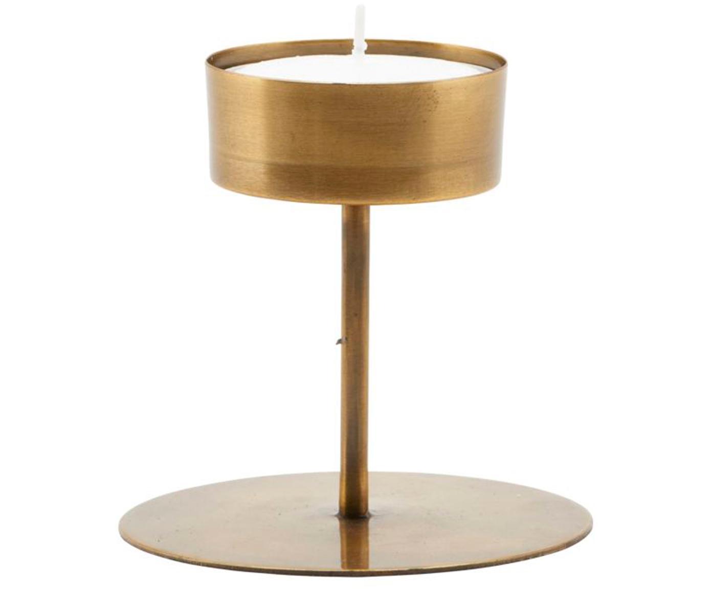 Teelichthalter Anit, Metall, beschichtet, Messingfarben, Ø 11 x H 10 cm