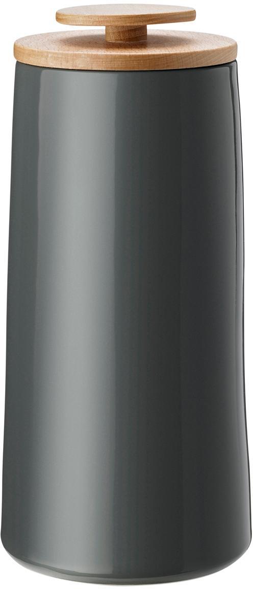 Pojemnik do przechowywania Emma, Pojemnik do przechowywania: ciemny szary  Pokrywka: drewno bukowe, Pojemność 500 g
