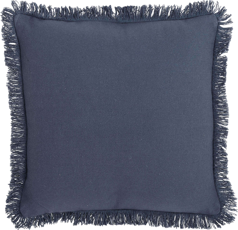 Kissen Prague mit Fransenabschluss, mit Inlett, Vorderseite: 100% Baumwolle, grob gewe, Rückseite: 100% Baumwolle, Blau, 40 x 40 cm