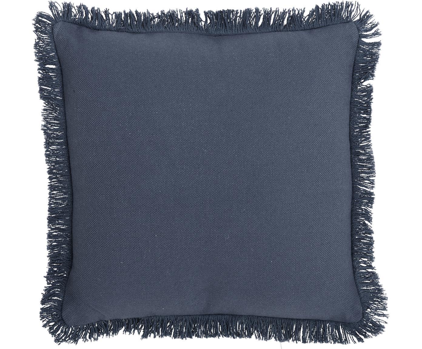 Cojín con flecos Prague, con relleno, Parte delantera: 100%algodón de tejido gr, Parte trasera: 100%algodón, Azul, An 40 x L 40 cm