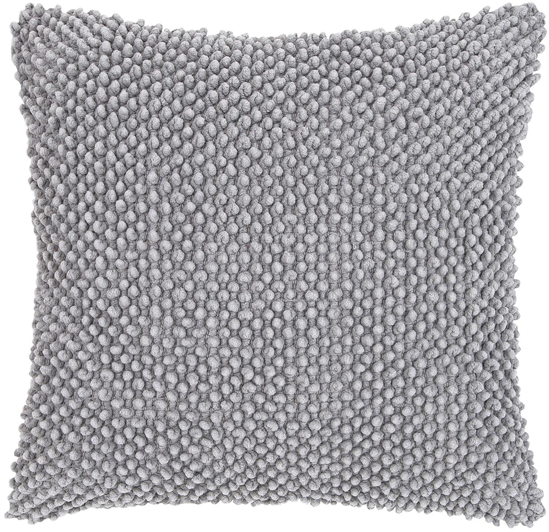 Funda de cojín texturizada Indi, Algodón, Gris claro, An 45 x L 45 cm