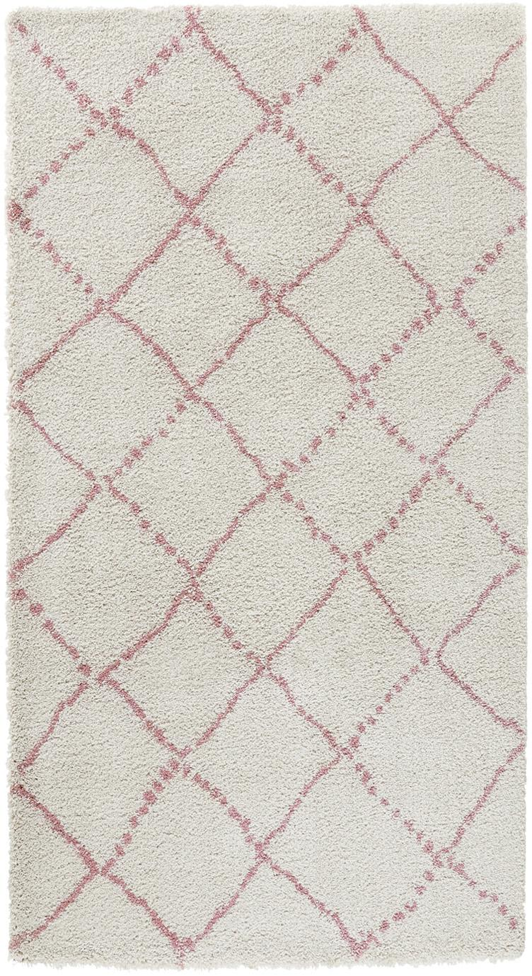 Pluizig hoogpolig vloerkleed Hash in roze/crème kleur, Bovenzijde: polypropyleen, Onderzijde: jute, Crèmekleurig, roze, 80 x 150 cm
