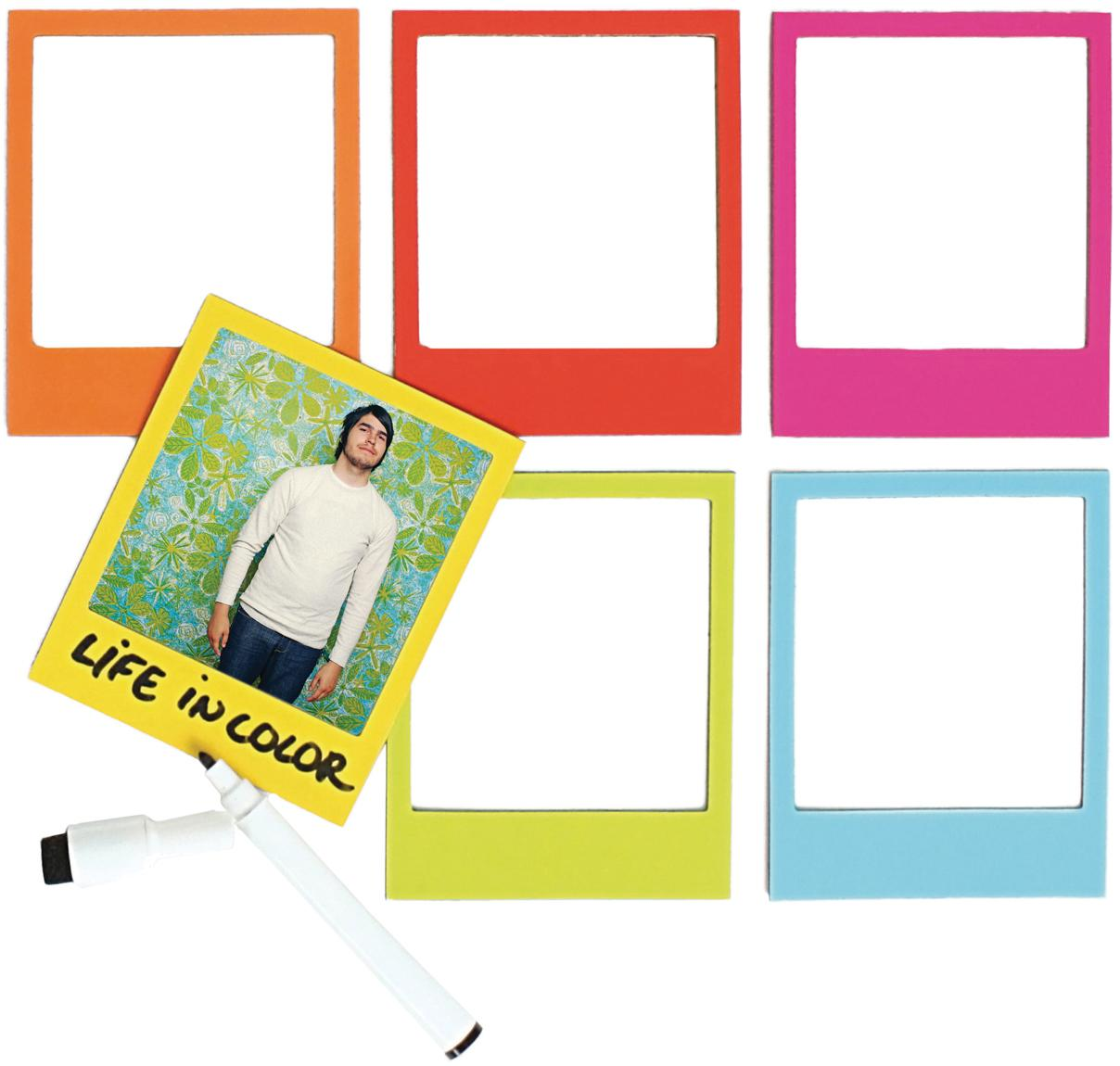Bilderrahmen-Set Rainbow, 6-tlg., Vorderseite: PVC, Rückseite: Magnet, Mehrfarbig, 6 x 9 cm