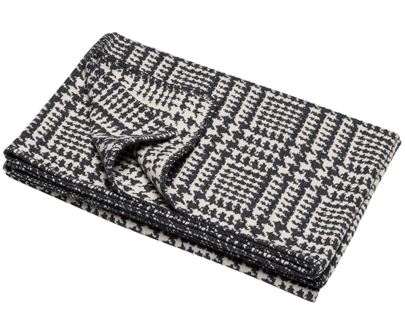 Plaid Glencheck mit Hahnentritt Muster, Bezug: 85% Baumwolle, 8% Viskose, schwarz weiß, 145 x 220 cm