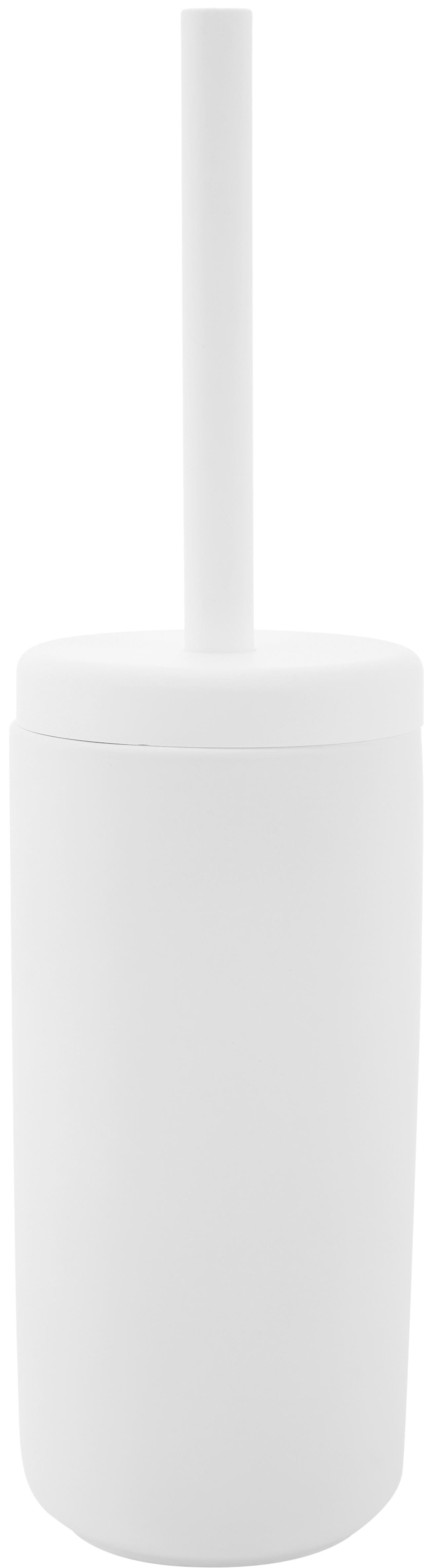 Scopino con contenitore in terracotta Omega, Contenitore: terracotta rivestita con , Manico: materiale sintetico, Bianco opaco, Ø 10 x Alt. 39 cm