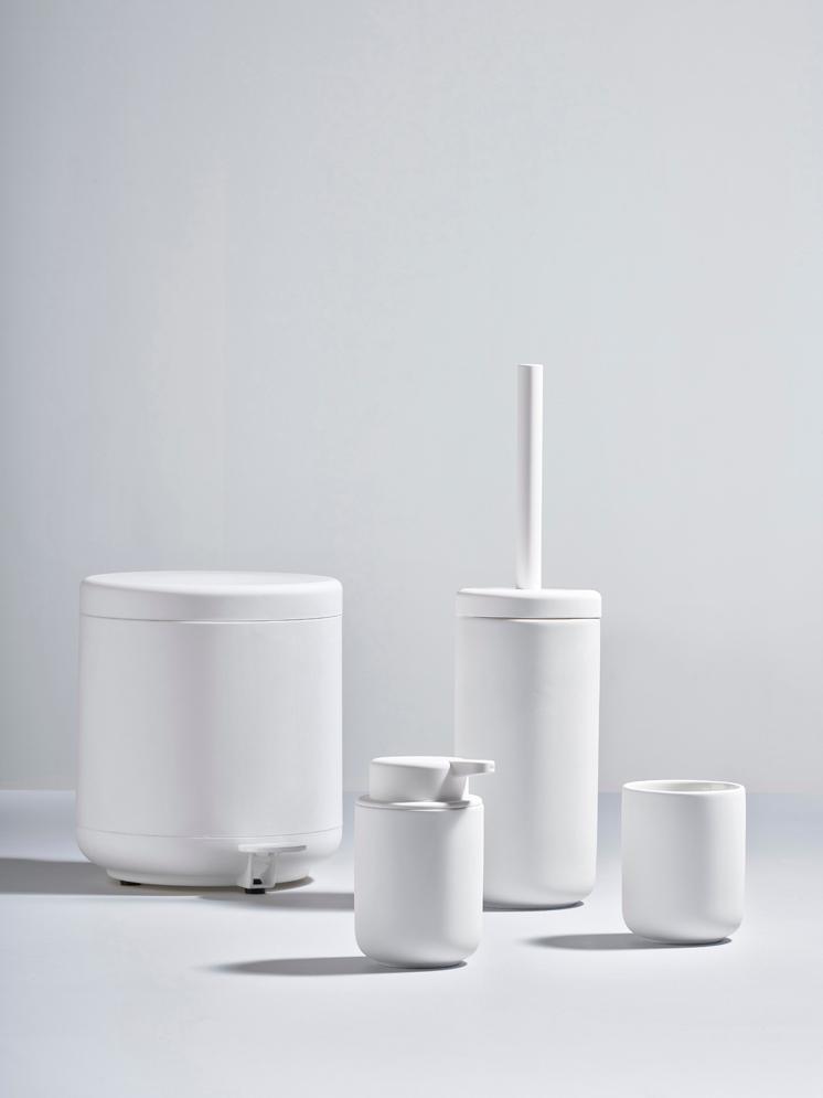 Toilettenbürste Ume mit Steingut-Behälter, Behälter: Steingut überzogen mit So, Griff: Kunststoff, Weiß, matt, Ø 10 x H 39 cm