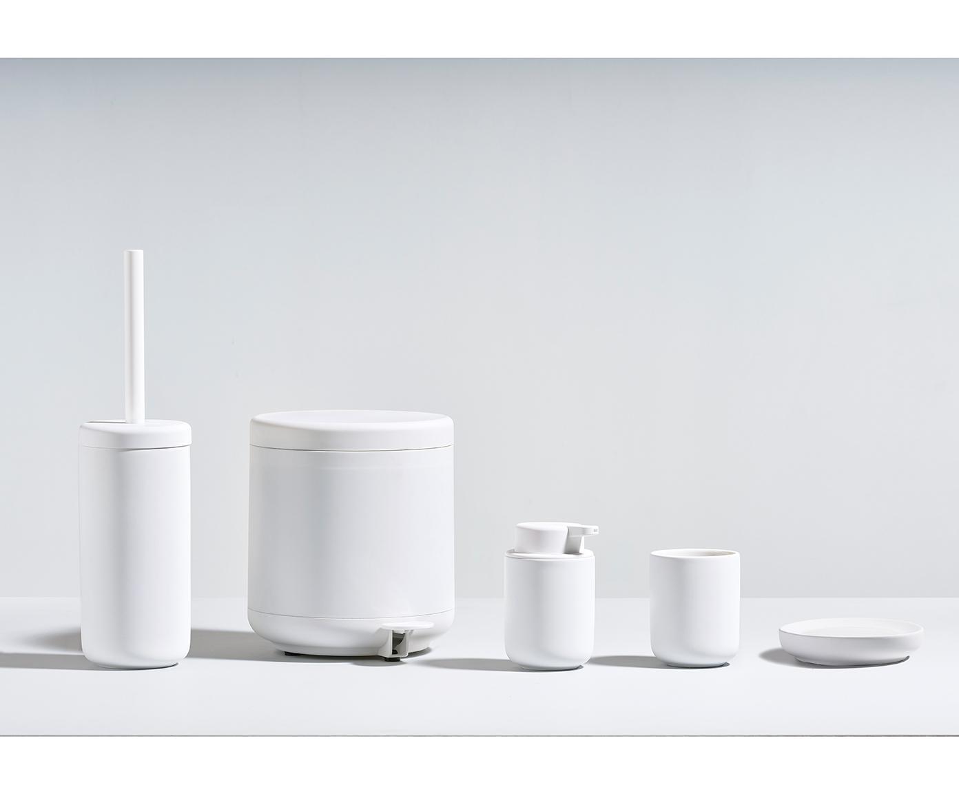 Szczotka toaletowa z pojemnikiem z kamionki Omega, Biały, matowy, Ø 10 x W 39 cm