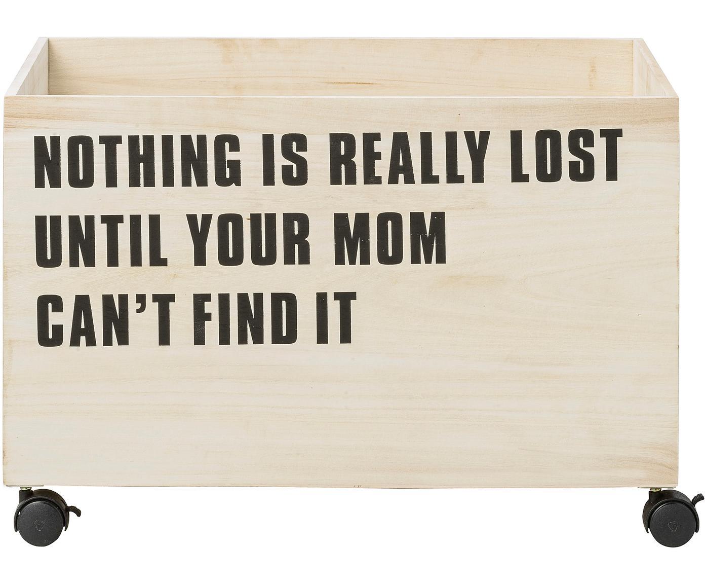 Cesta Storly, Cesta: madera de Paulownia, Ruedas: plástico, Beige, An 60 x Al 35 cm