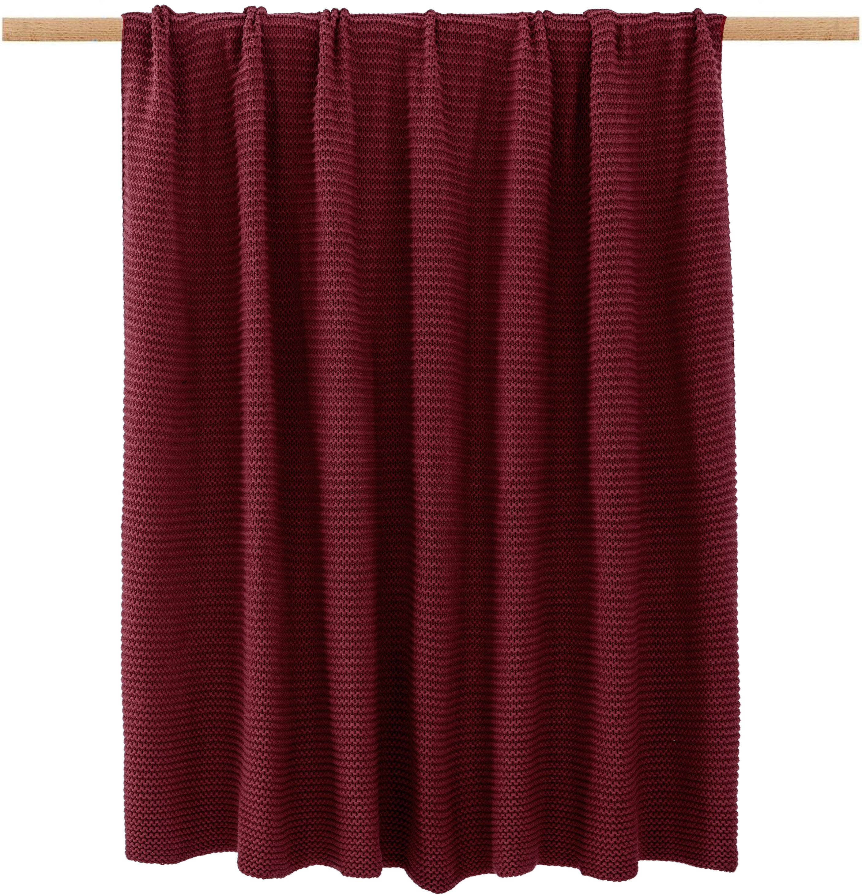 Manta de punto Aladyn, 100%algodón, Rojo oscuro, An 150 x L 200 cm