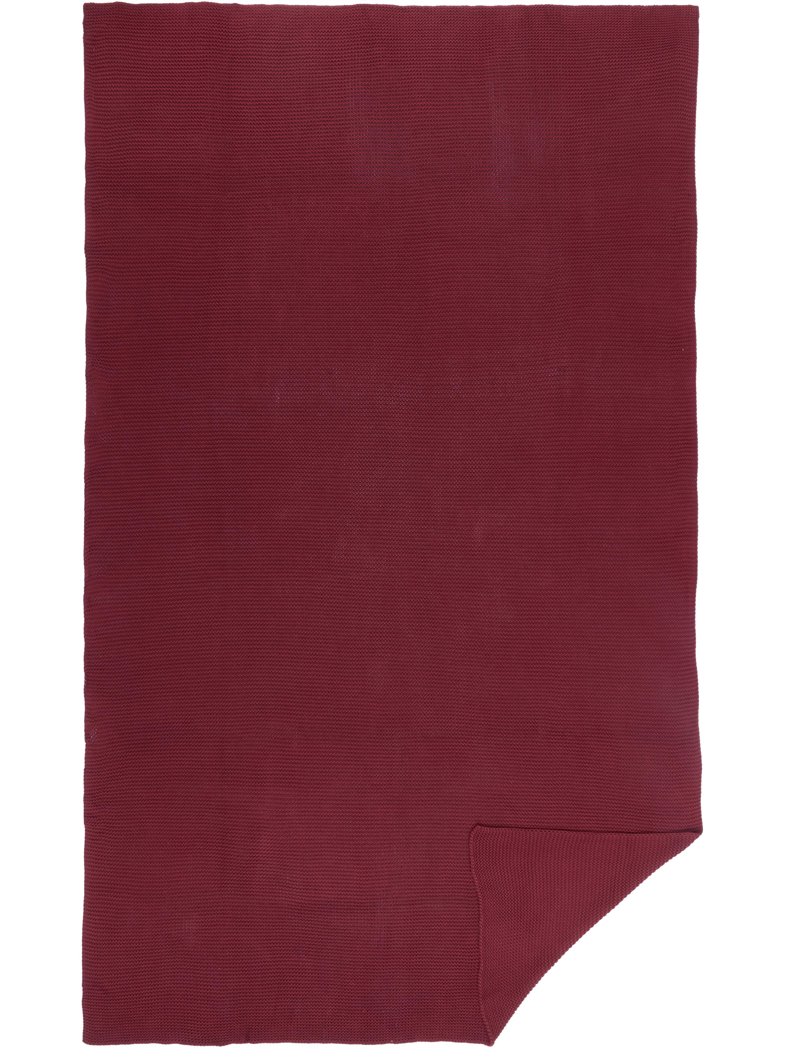 Gebreide plaid Aladyn, 100% katoen, Donkerrood, 150 x 200 cm