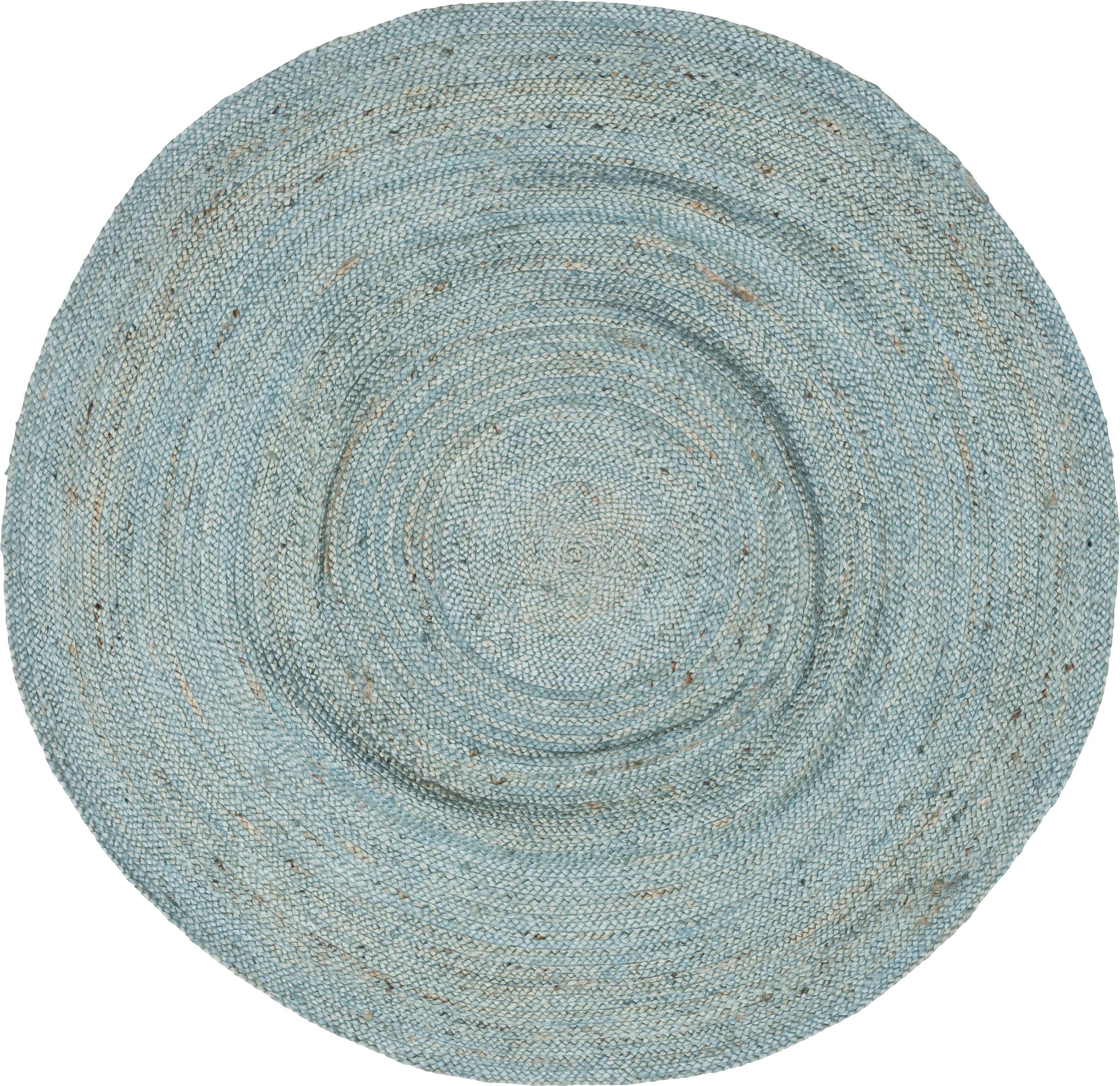 Runder Jute-Teppich Pampas in Hellblau, 100% Jute, Hellblau, Ø 150 cm (Größe M)