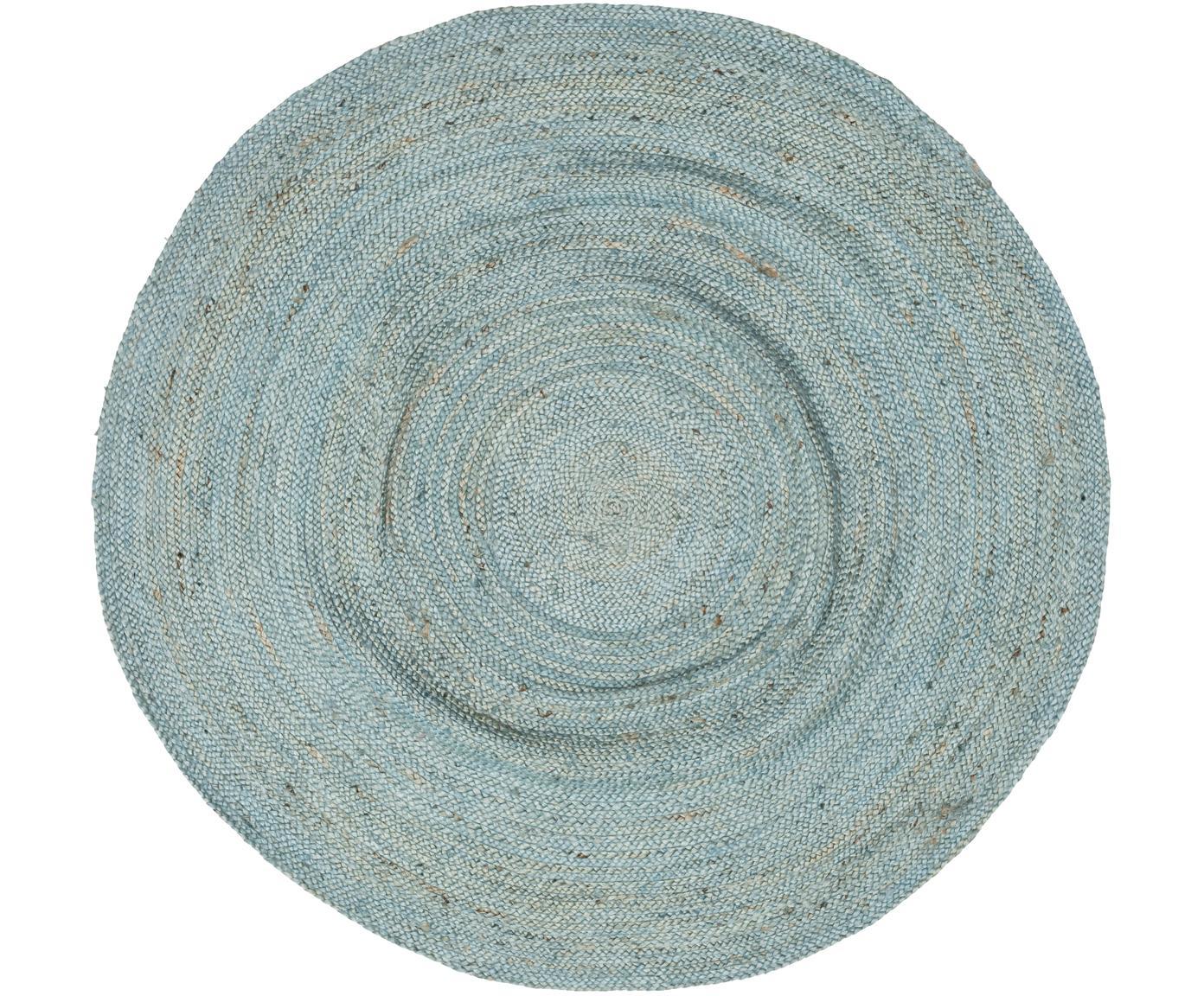 Alfombra redonda de yute Pampas, 100%yute, Azul claro, Ø 150  (Tamaño M)