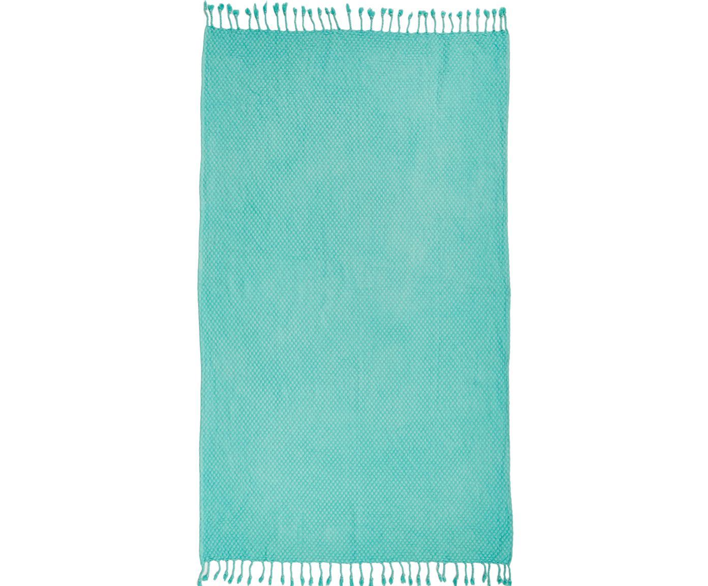 Strandtuch Ola, 100% Baumwolle, leichte Qualität 320g/m², Türkis, 100 x 180 cm
