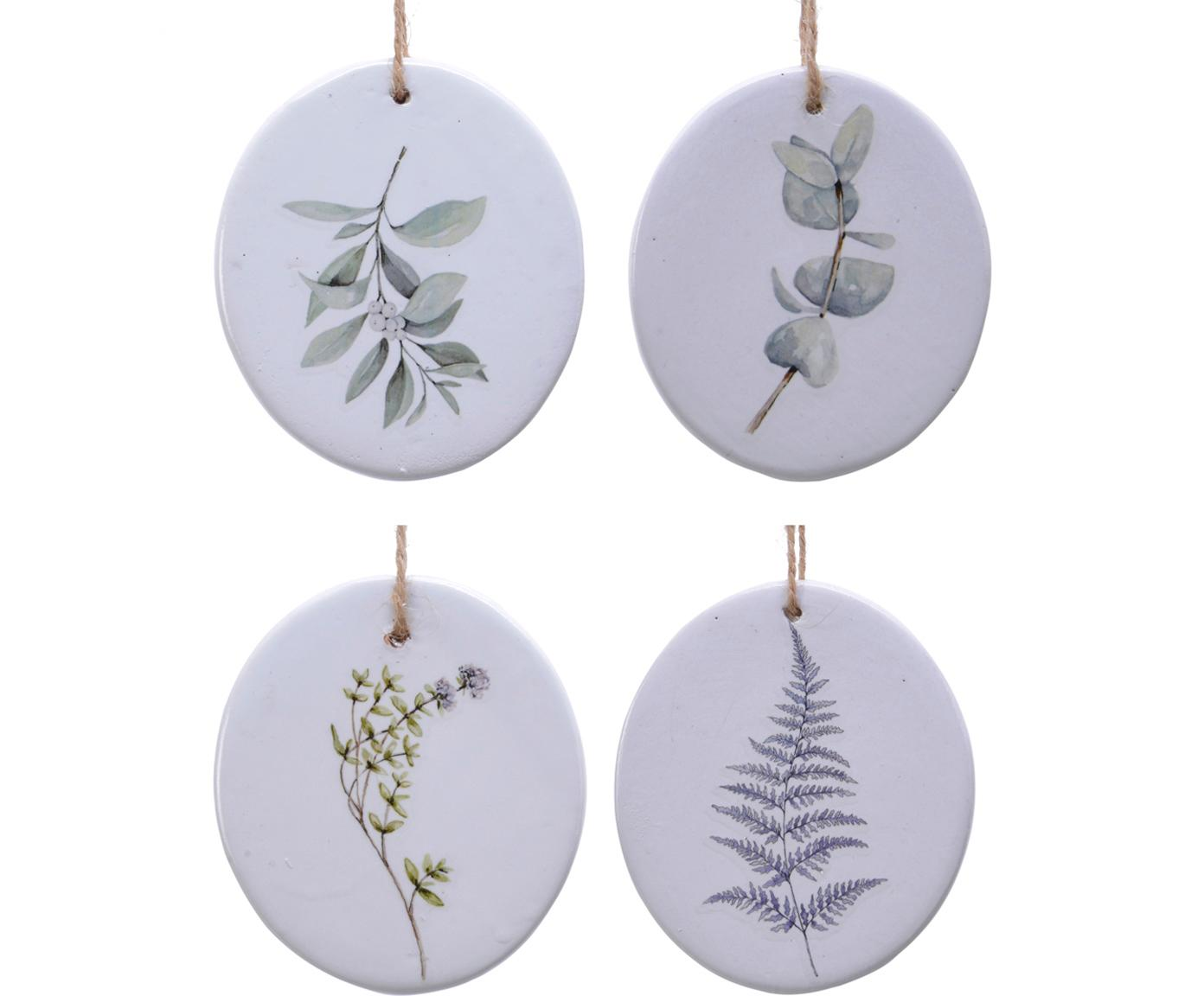 Kerstboomhangersset Flory, 4-delig, Porselein, Wit, groen, Ø 8 cm