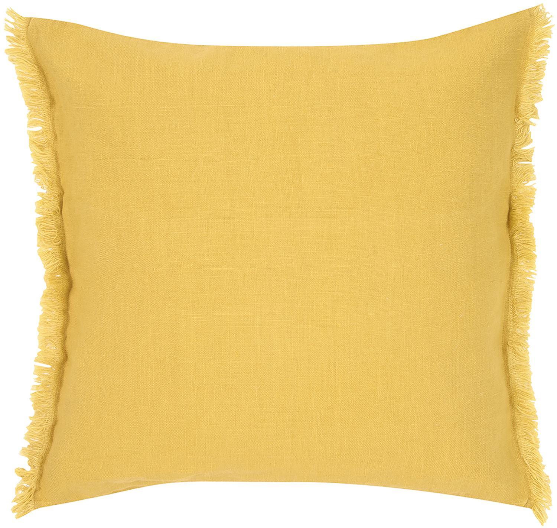 Funda de cojín de lino con flecos Luana, Lino, Amarillo, An 40 x L 40 cm
