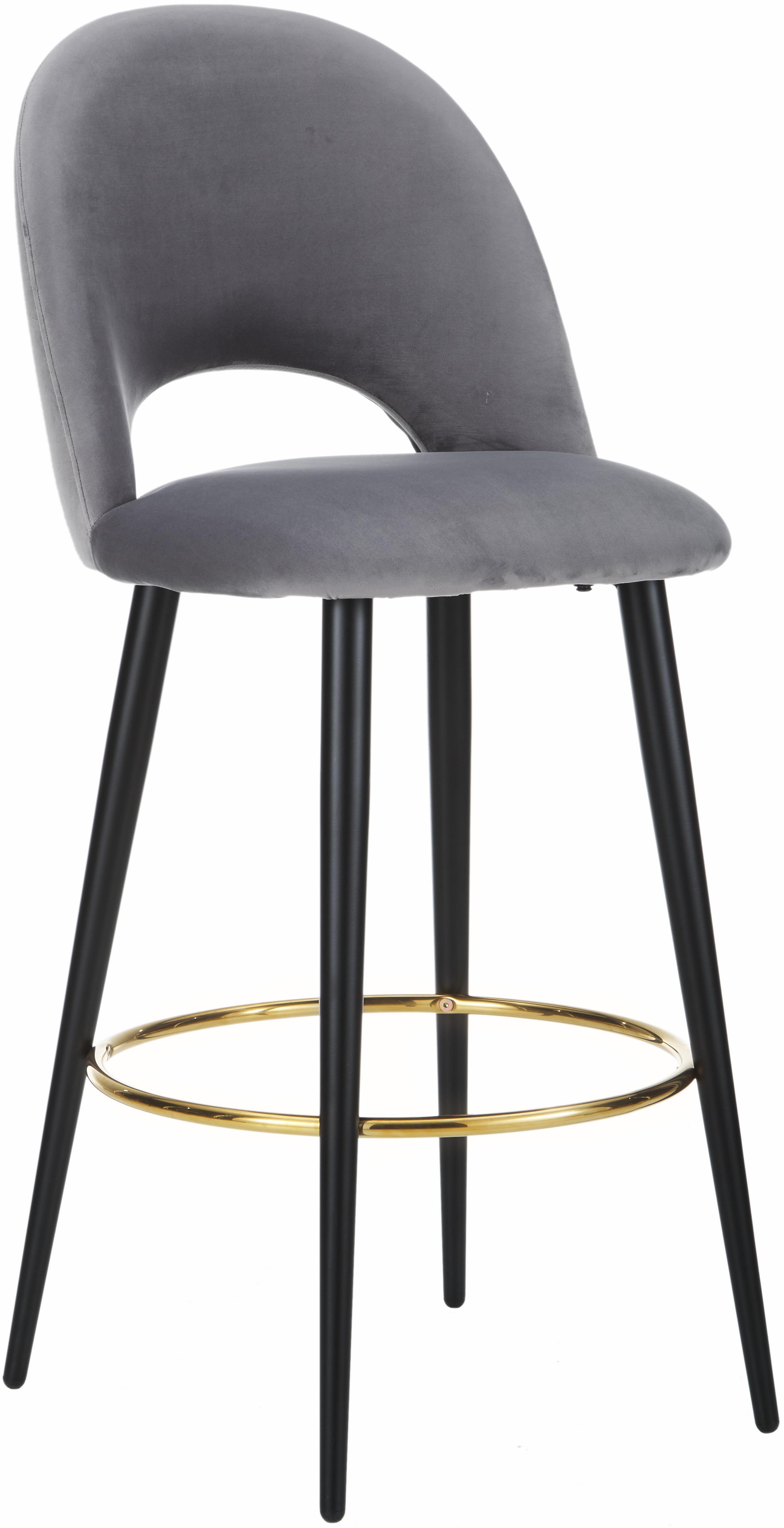 Krzesło barowe z aksamitu Rachel, Tapicerka: aksamit (poliester) 5000, Nogi: metal malowany proszkowo , Aksamitny szary, S 48 x W 110 cm