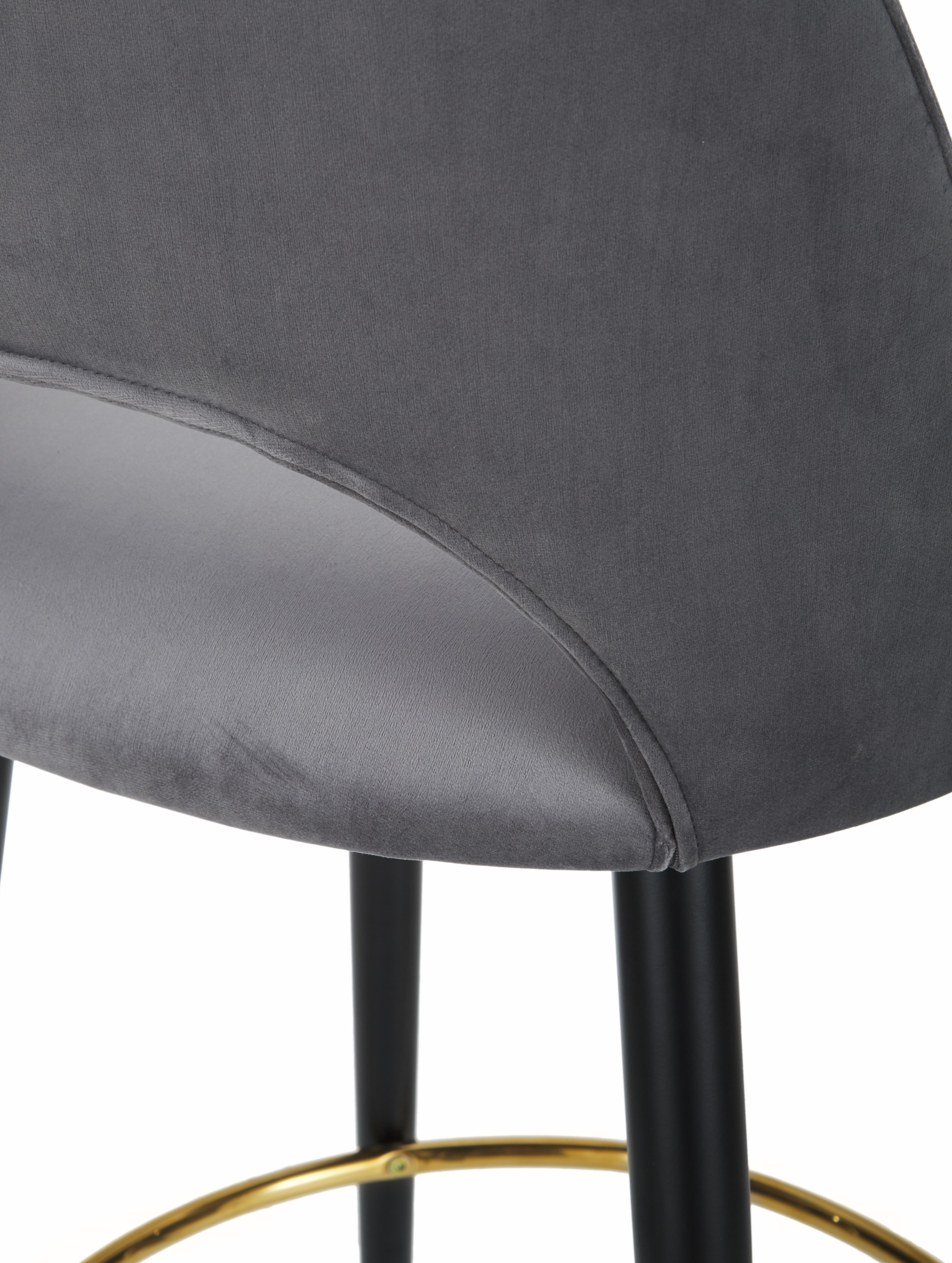 Sedia da bar in velluto Rachel, Rivestimento: velluto (poliestere) 50.0, Gambe: metallo verniciato a polv, Velluto grigio acciaio, Larg