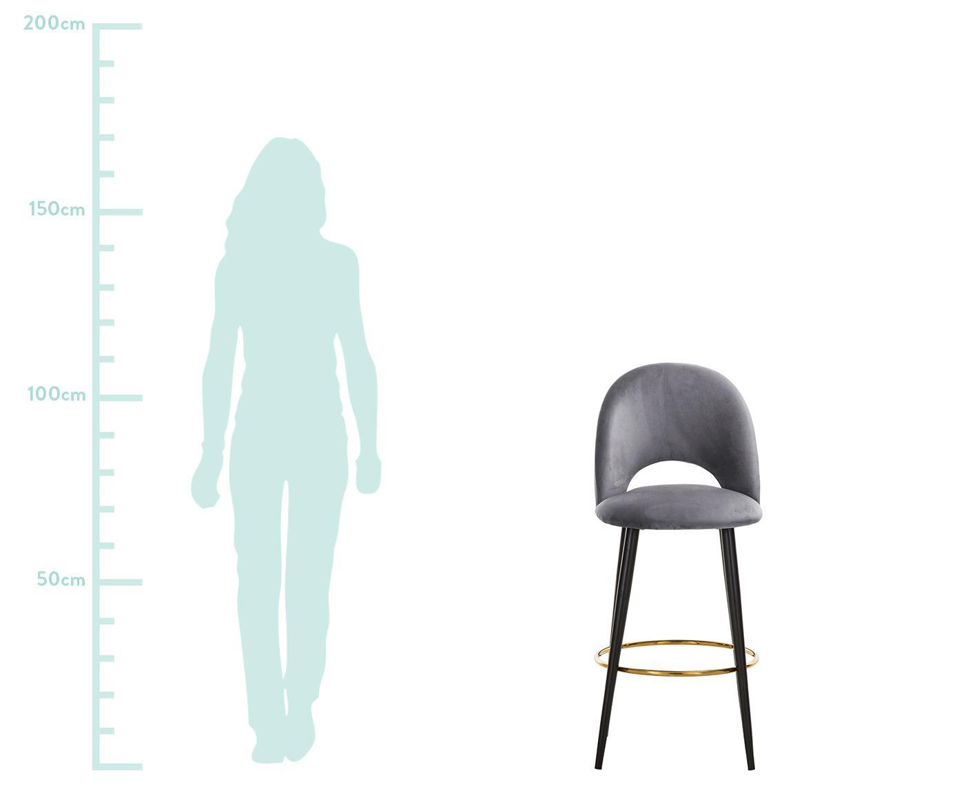 Samt-Barstuhl Rachel, Bezug: Samt (Polyester) 50.000 S, Beine: Metall, pulverbeschichtet, Samt Stahlgrau, 48 x 110 cm