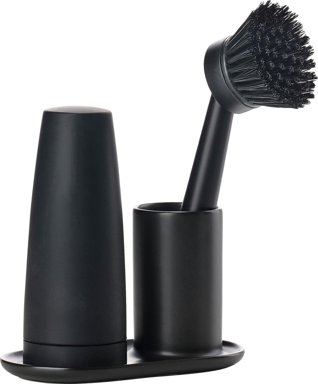 Wasmiddeldispenserset Plain met borstel, 3-delig, Keramiek, kunststof (ABS), siliconen, Zwart, B 15 x D 8 cm
