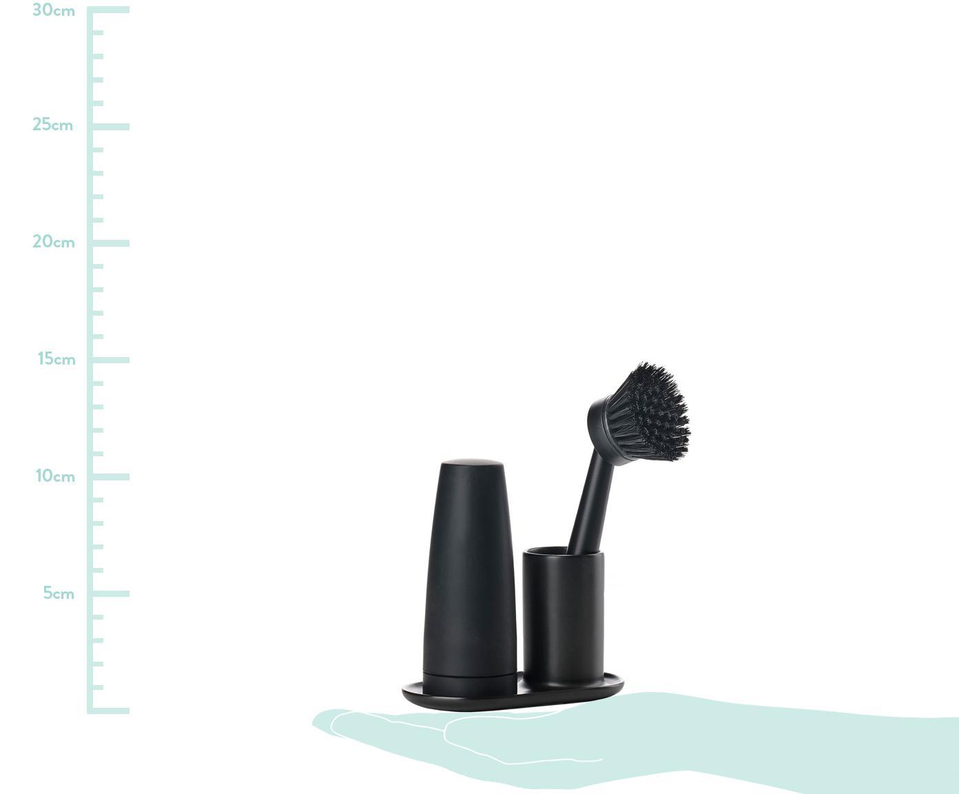 Komplet dozownika na płyn do mycia naczyń i szczotki Plain, 3 elem., Ceramika, tworzywo sztuczne (ABS), silikon, Czarny, S 15 x G 8 cm