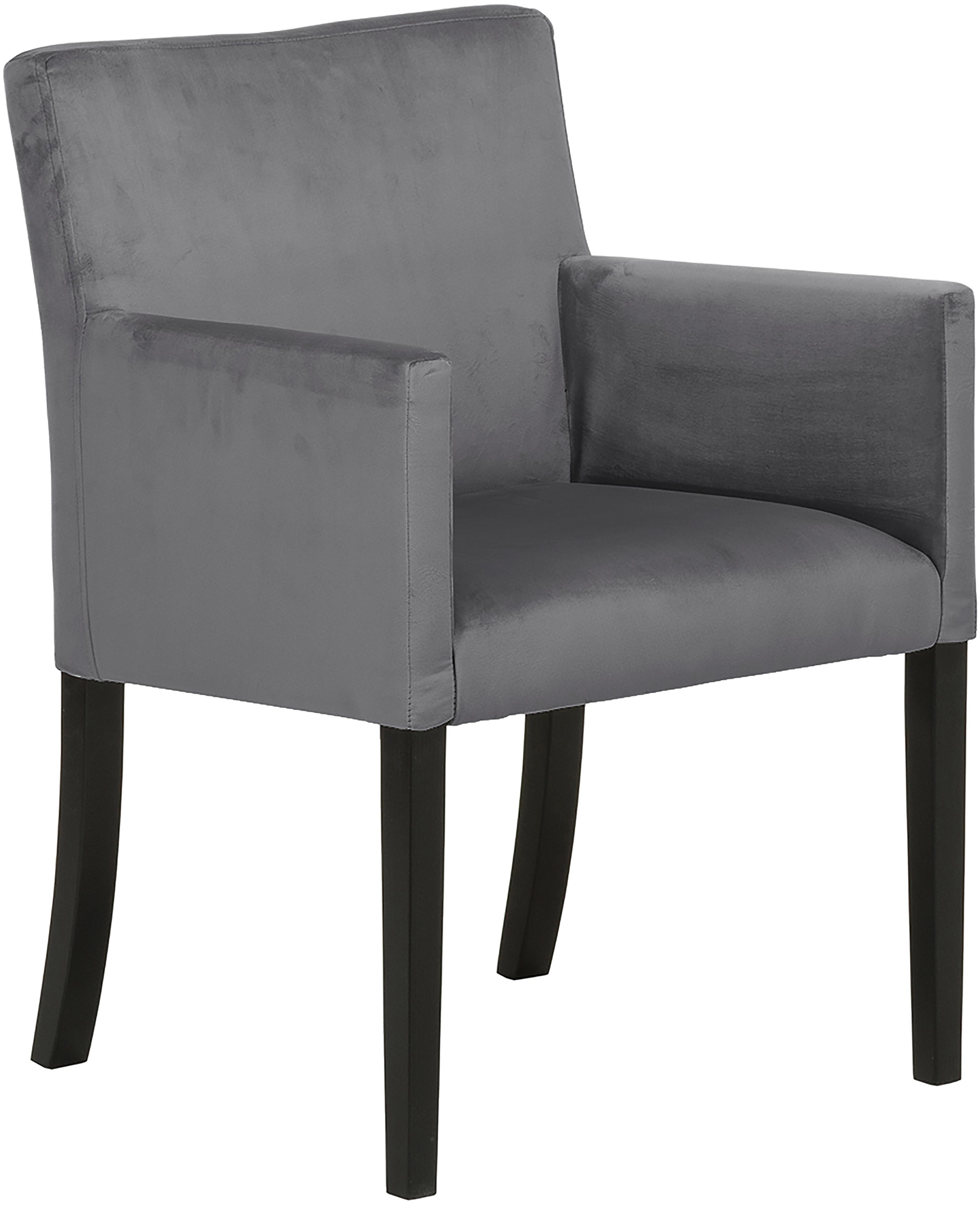 Krzesło z podłokietnikami z aksamitu Boston, Tapicerka: aksamit (wysokiej jakości, Nogi: lite drewno bukowe, lakie, Tapicerka: ciemnyszary Nogi: czarny, S 60 x G 60 cm
