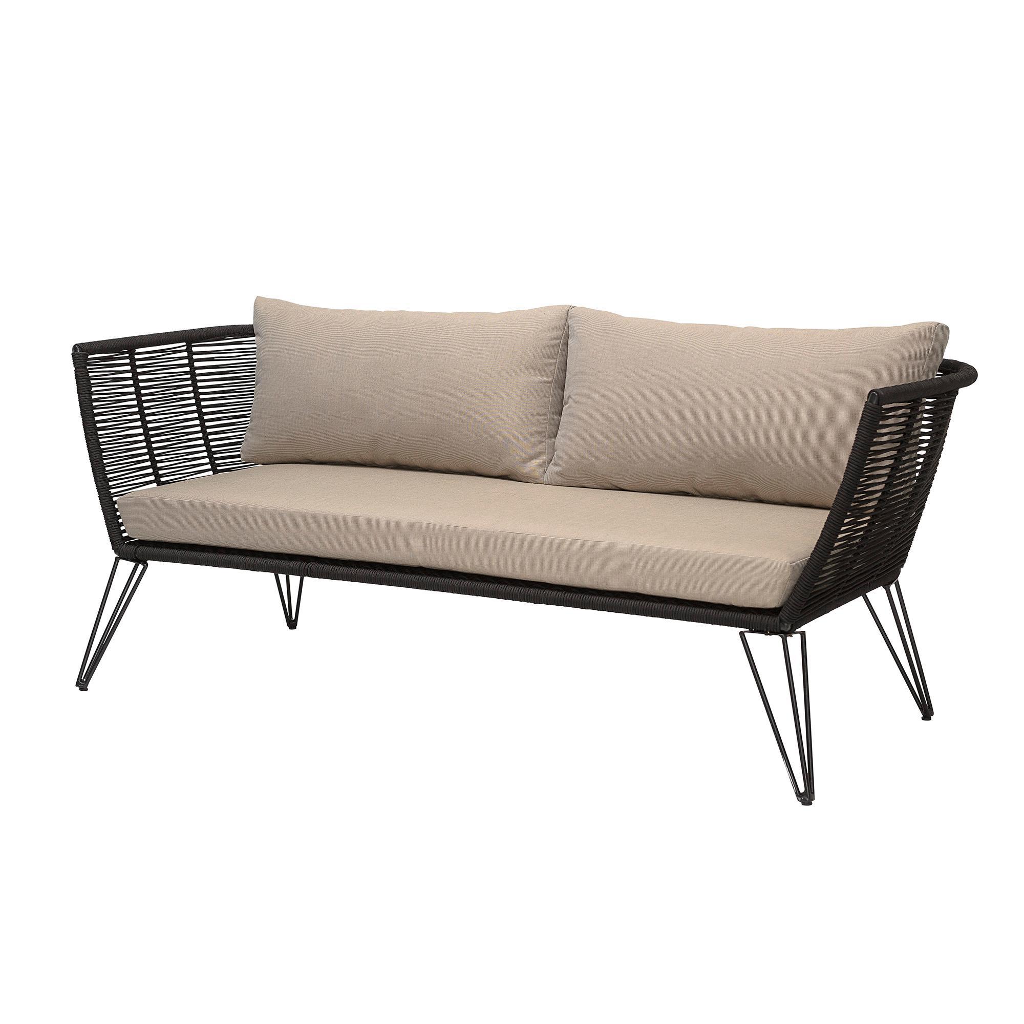 Tuin loungebank Mundo met kunststoffen vlechtwerk (2-zits), Frame: gepoedercoat metaal, Zitvlak: polyethyleen, Bekleding: polyester, Beige, B 175 x D 74 cm