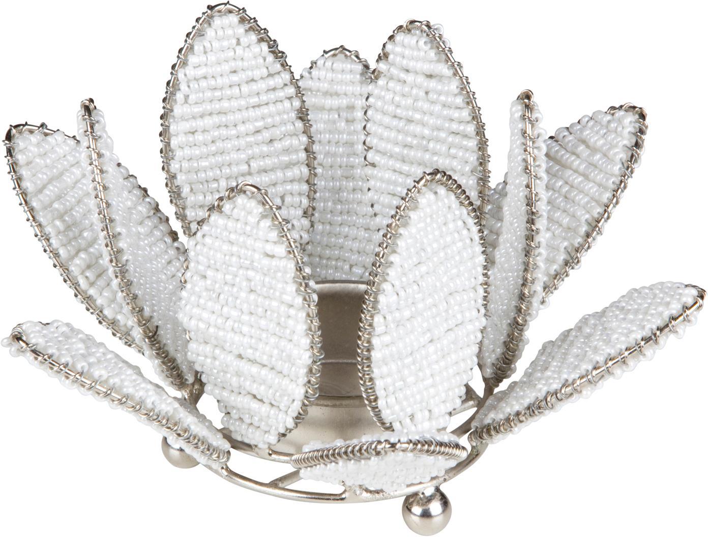 Teelichthalter Kei, Metall, Glasperlen, Weiß, Silberfarben, Ø 13 x H 9 cm