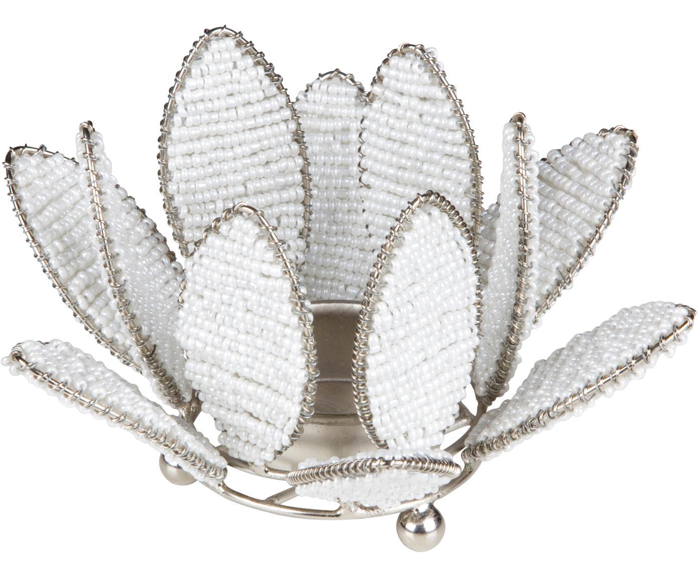 Portalumini Kei, Metallo, perle di vetro, Bianco, argentato, Ø 13 x Alt. 9 cm