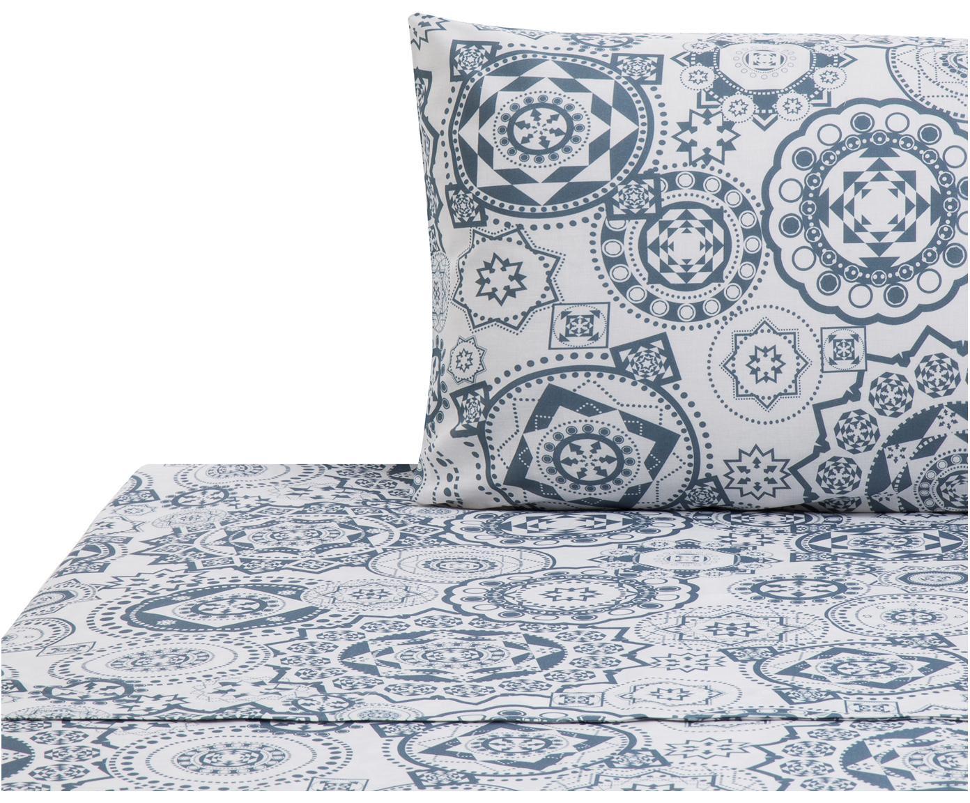 Set lenzuola in cotone Morris 2 pz, Cotone, Fronte: blu, bianco Retro: bianco, 160 x 270 cm