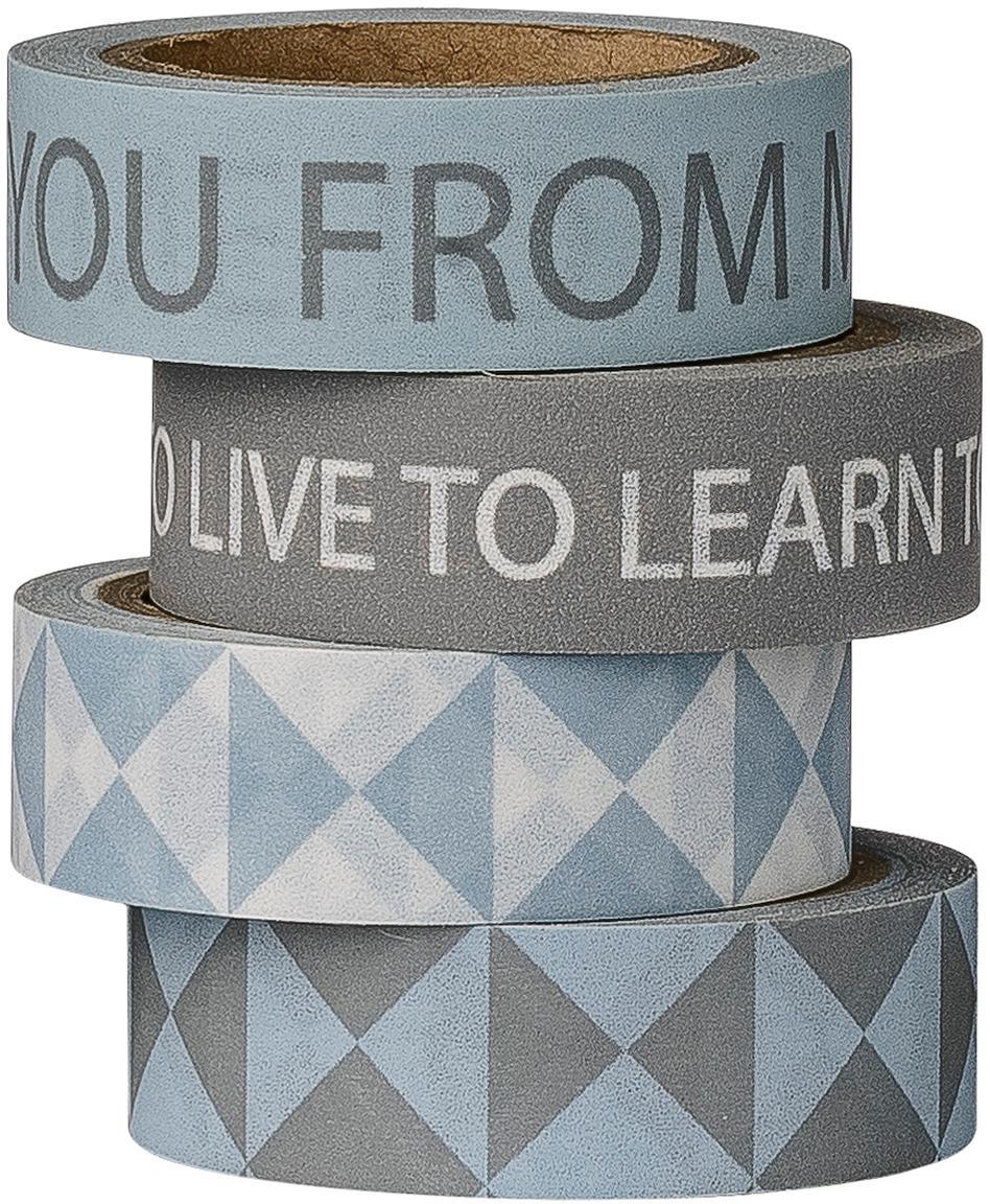 Set nastri adesivi Learn, 4 pz., Carta, Blu, tonalità grigie, Lung. 800 cm