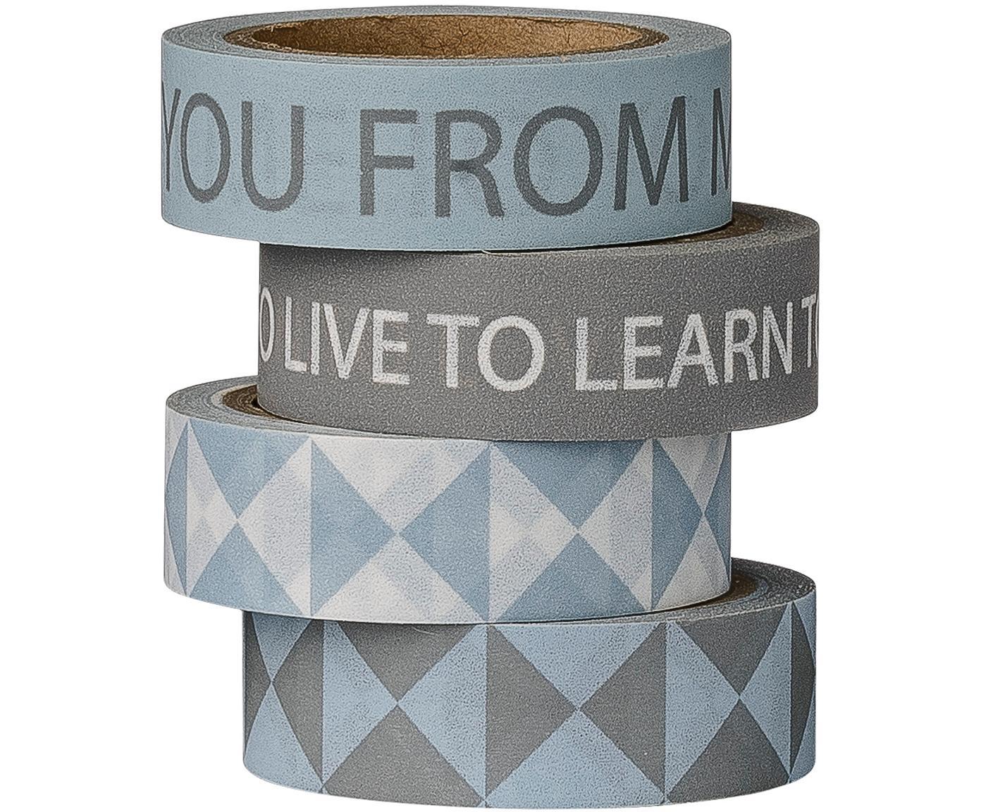 Plakbandset Learn, 4-delig, Papier, Blauw, grijstinten, L 800 cm
