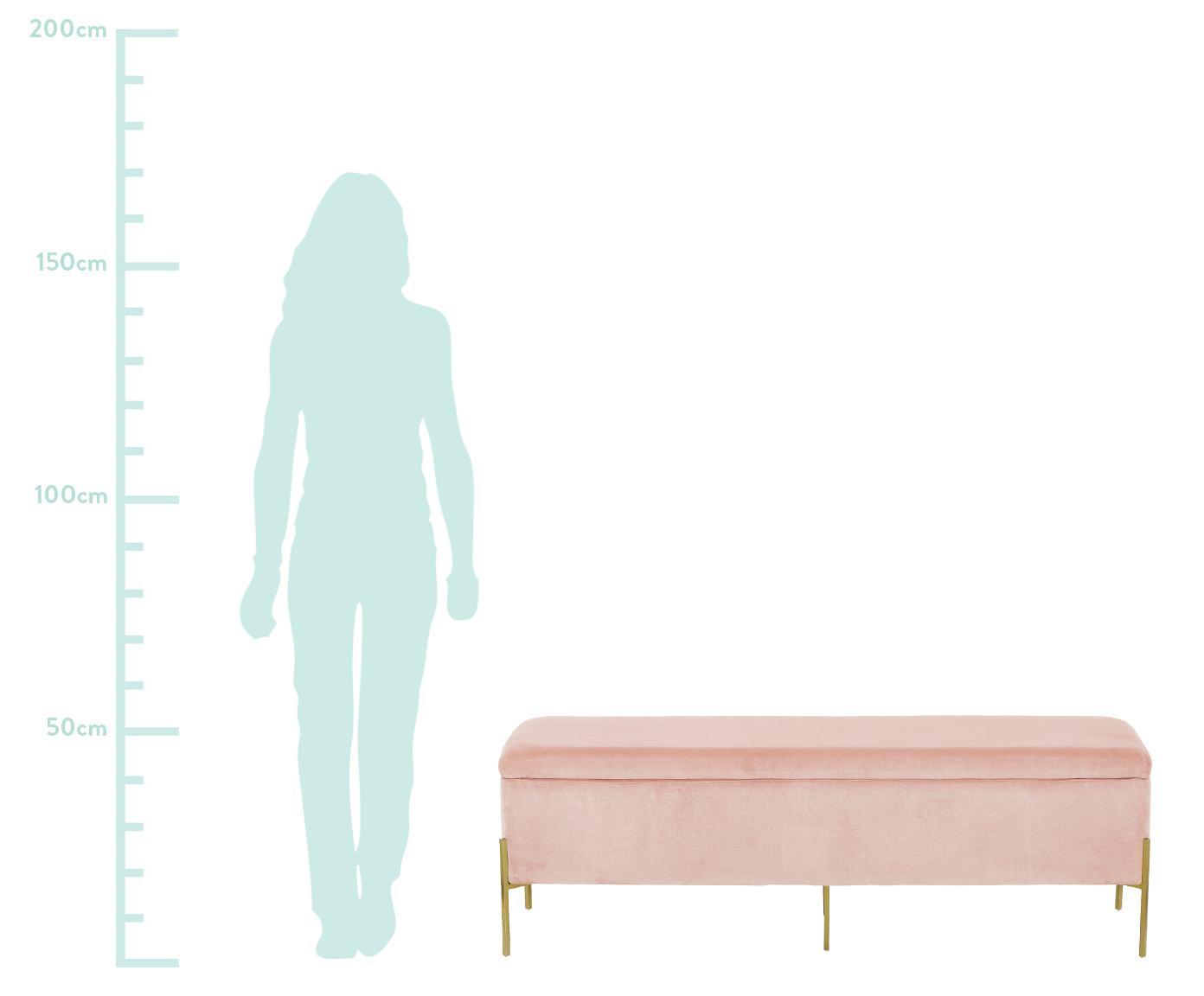 Ławka z aksamitu Harper, Tapicerka: aksamit bawełniany 20000, Noga: metal malowany proszkowo, Tapicerka: brudny różowy Nogi: odcienie złotego, matowy, S 140 x W 45 cm