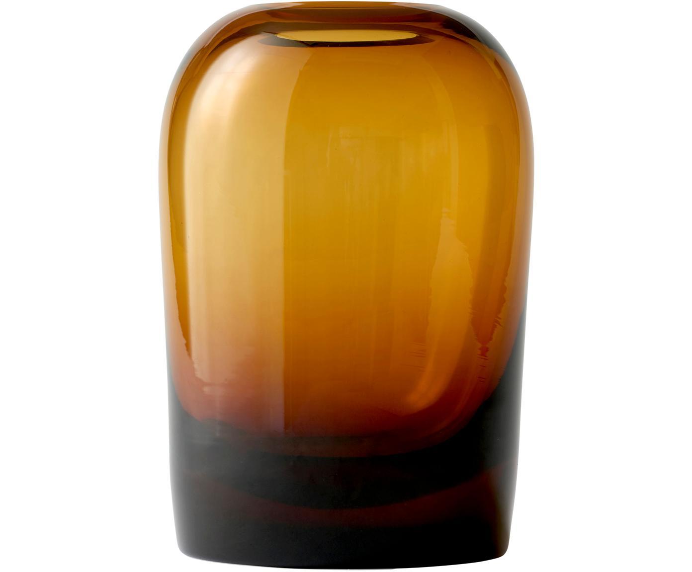 Mondgeblazen vaas Troll, Mondgeblazen glas, Amberkleurig, Ø 13 cm