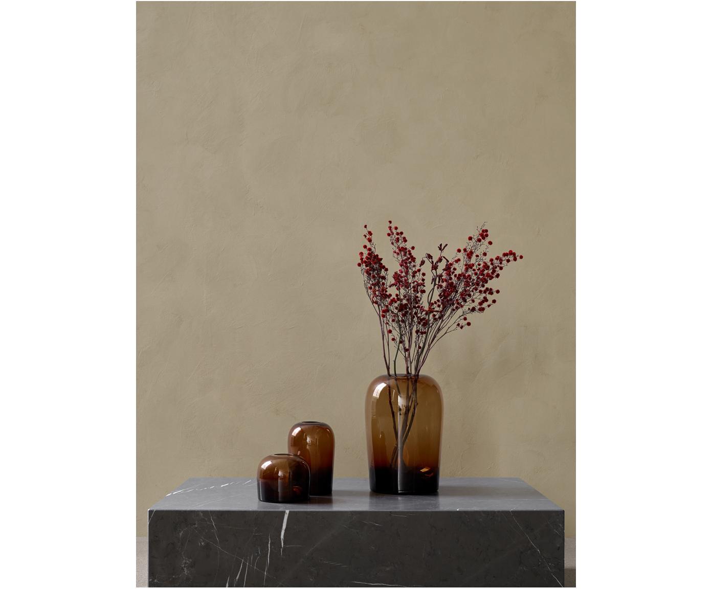Mundgeblasene Vase Troll, Glas, mundgeblasen, Bernsteinfarben, Ø 13 x H 19 cm
