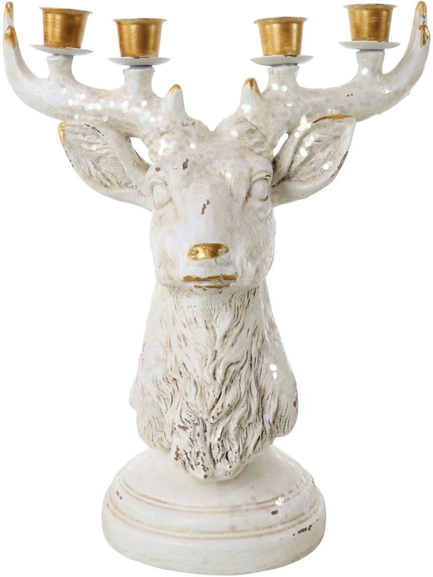 Candelabro Deer , Poliresina, Bianco, dorato, Larg. 24 x Alt. 28 cm