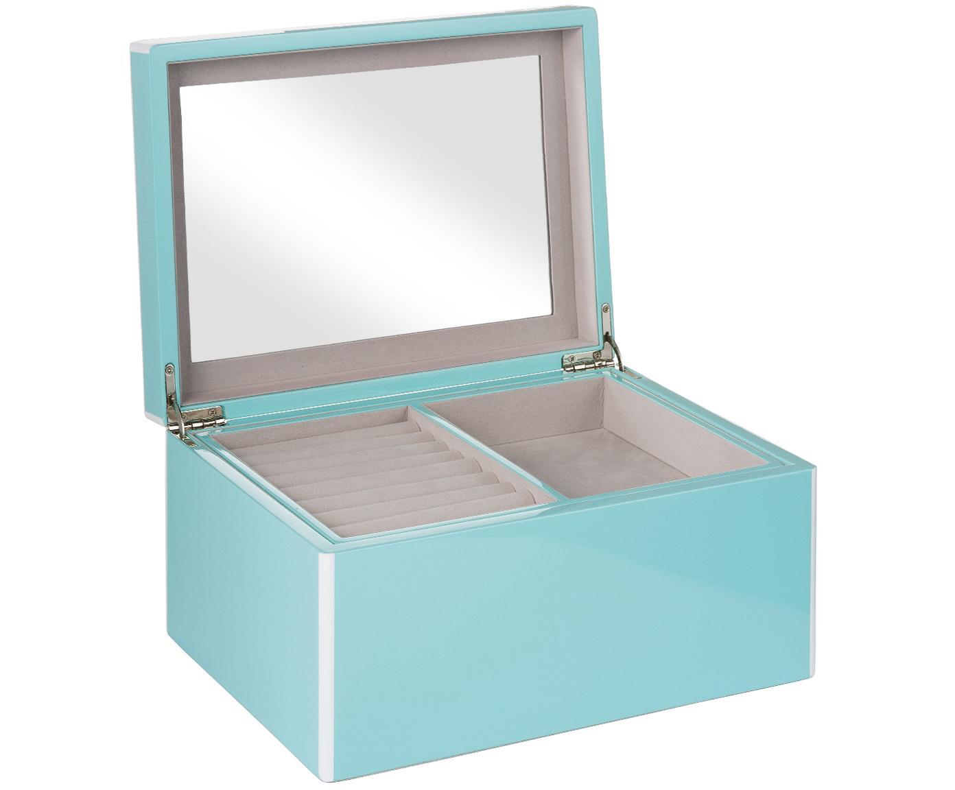 Szkatułka na biżuterię z lustrzaną powierzchnią Taylor, Jasnoniebieski, S 26 x W 13 cm