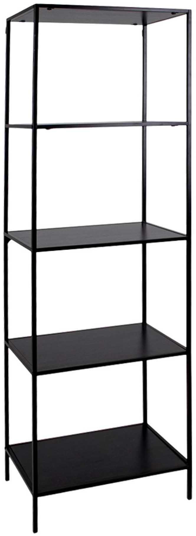 Estantería Vita, Estructura: acero recubierto, Estantes: aglomerado revestido de m, Negro, An 51 x Al 170 cm