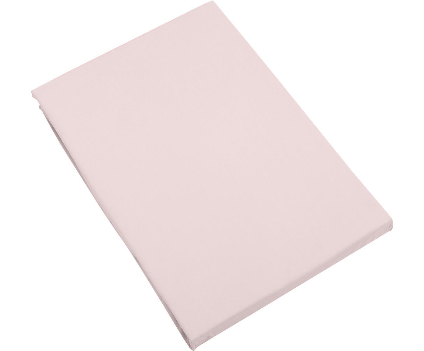 Prześcieradło z gumką z satyny bawełnianej Premium, Blady różowy, S 180 x D 200 cm