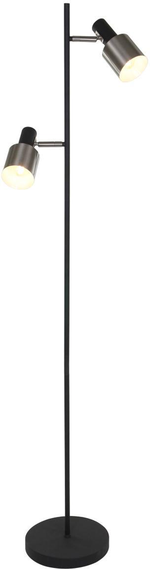 Vloerlamp Fjorgard, Gelakt metaal, Zwart, mat zilverkleurig, Ø 30 x H 155 cm