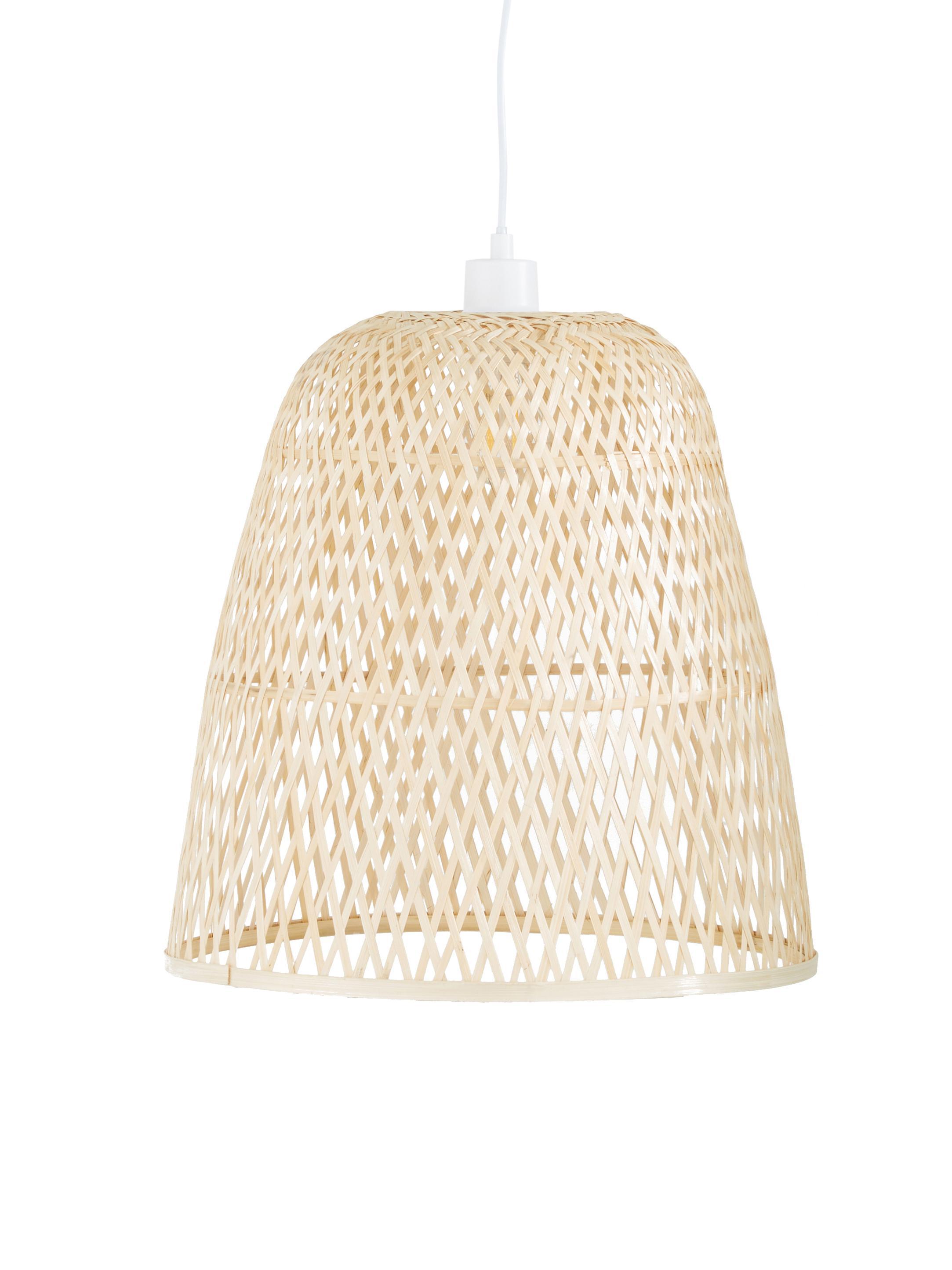 Ręcznie wykonana lampa wisząca z bambusa Eve, Drewno bambusowe, Ø 40 x W 40 cm
