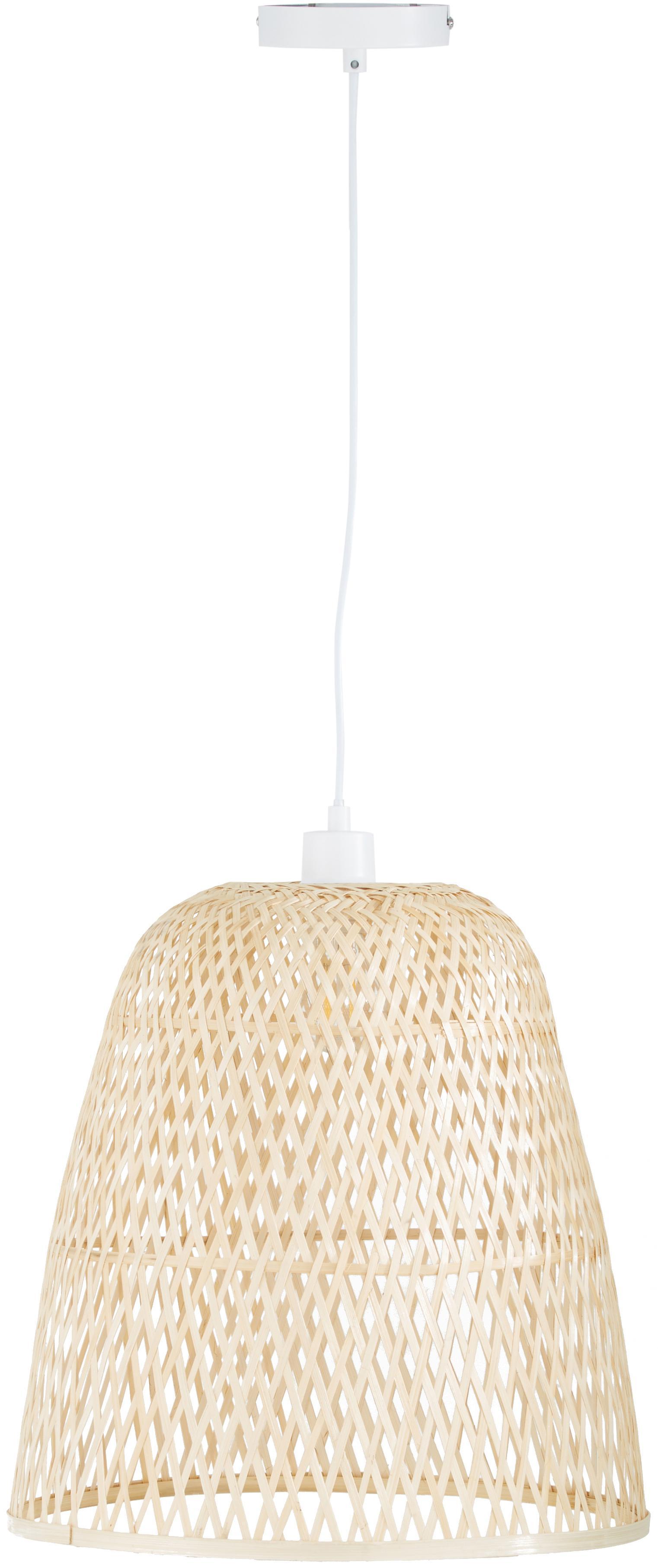 Handgemachte Pendelleuchte Eve aus Bambus, Lampenschirm: Bambus, Bambus, Ø 40 x H 40 cm