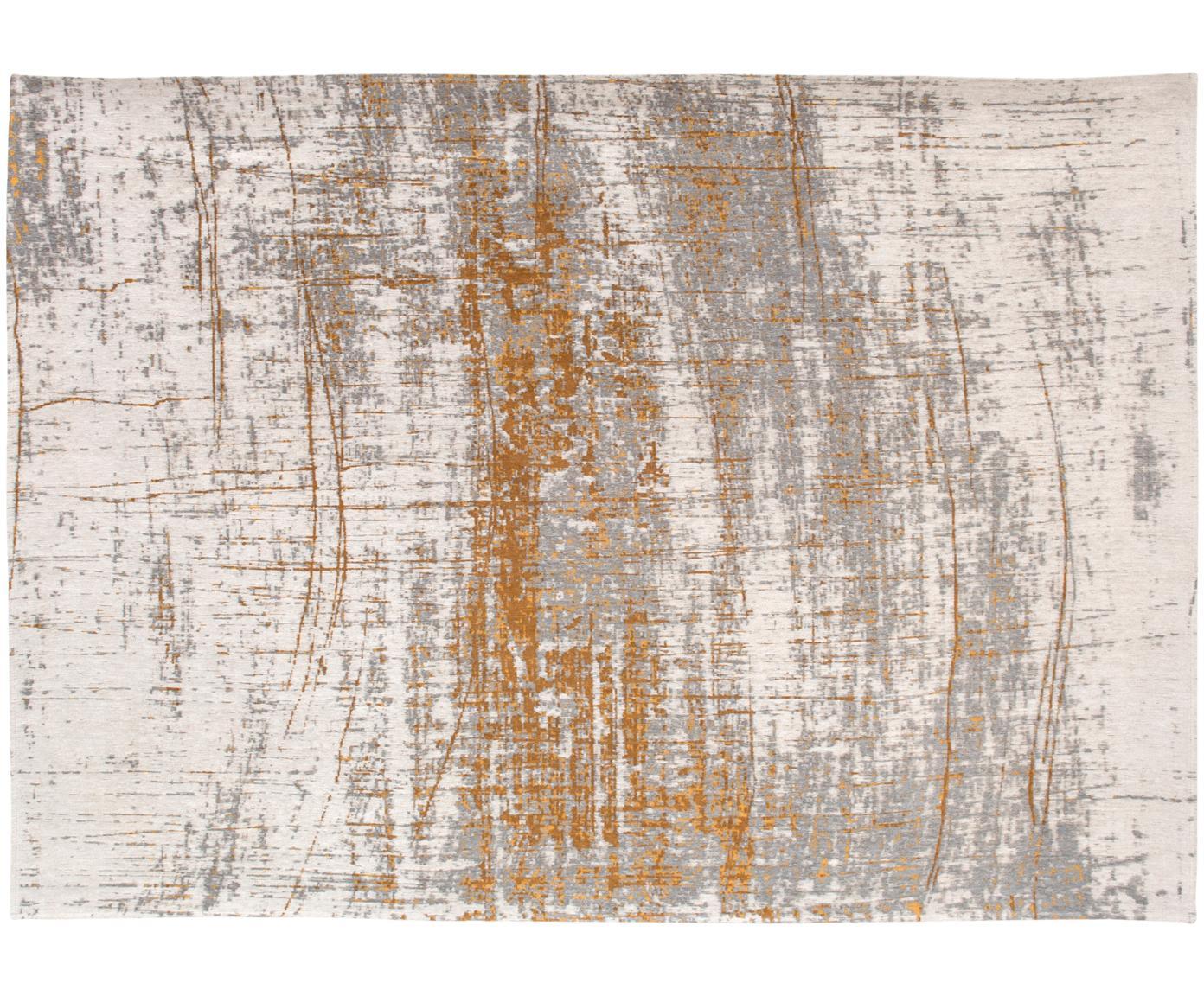 Vloerkleed Griff, Bovenzijde: 85%katoen, 15%hoogglanz, Weeftechniek: jacquard, Onderzijde: katoenmix, gecoat met lat, Bovenzijde: grijs, goudkleurig, gebroken wit, B 80 x L 150 cm (maat XS)