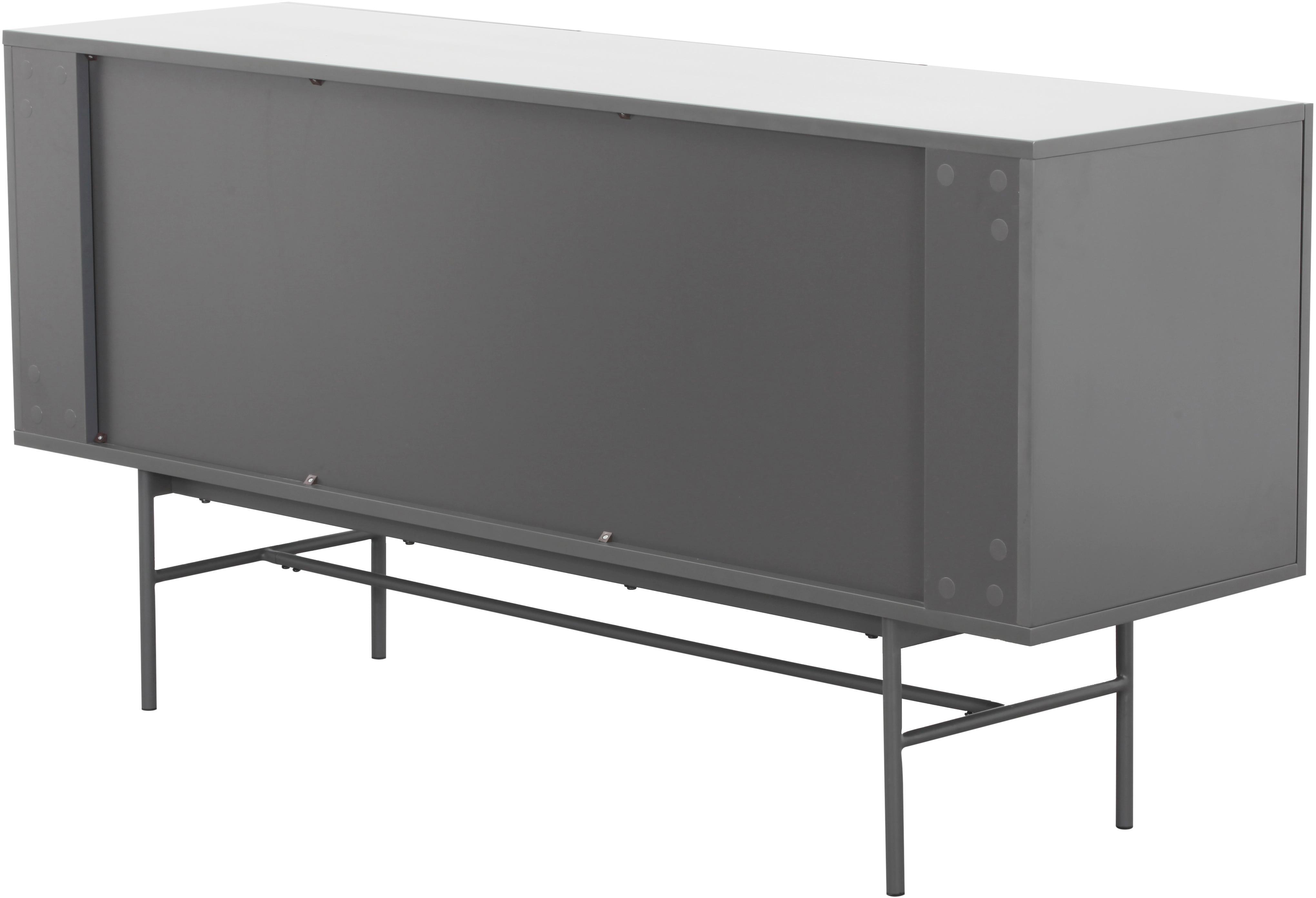 Modern dressoir Anders, Frame: gelakt MDF, Poten: gepoedercoat metaal, Frame: grijs. Poten: mat grijs, 160 x 80 cm