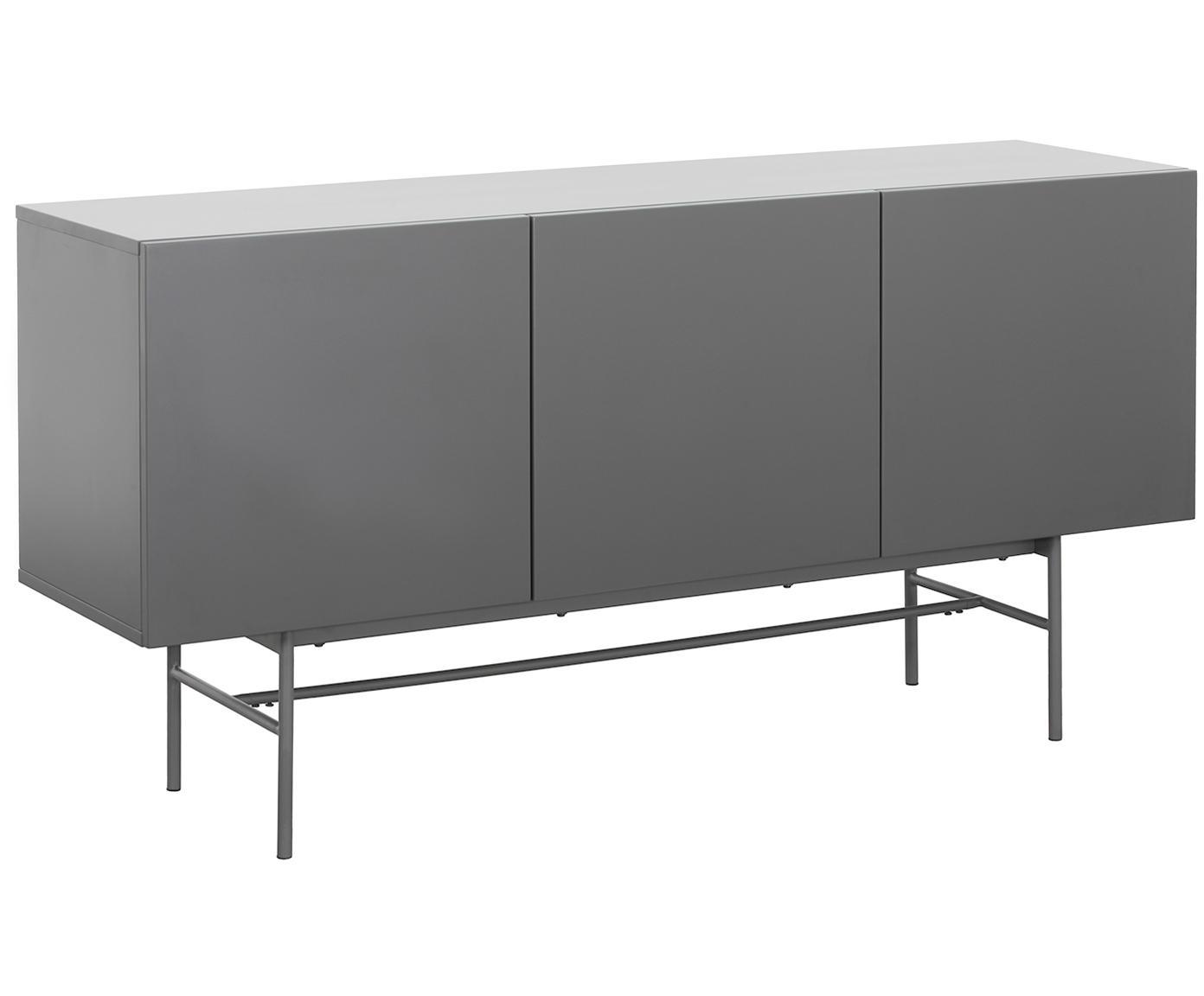 Credenza moderna Anders, Piedini: metallo verniciato a polv, Corpo: grigio piedini: grigio, opaco, Larg. 160 x Alt. 80 cm